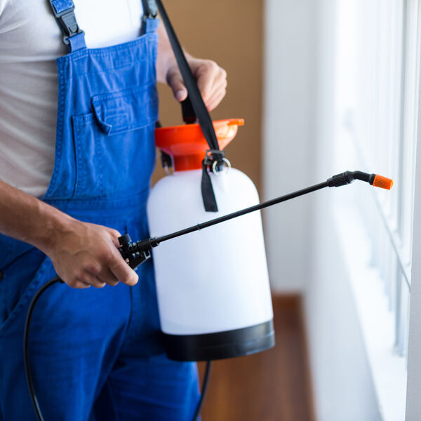 Man in blue overalls with a white shirt spraying for pests